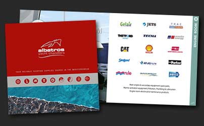 Yacht chandlers profile brochure. Link to flipping document services sample